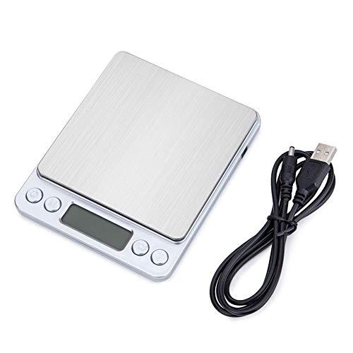 Básculas Digitales, Básculas Digitales 2018 Báscula de Cocina con alimentación USB Mejorada 500g 0.01g Balanza de pesaje de joyería de precisión de Acero Inoxidable Báscula electró