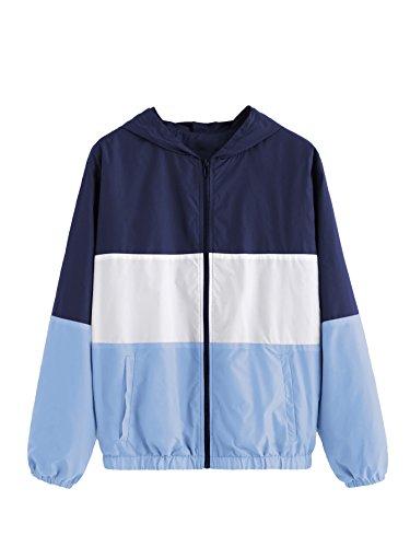 SweatyRocks Women's Casual Jackets Lightweight Hooded Windbreaker Outdoor Hiking Color Block M
