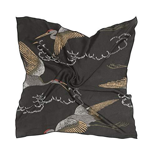 Schal Schal Kopftuch Bulldogge Square Lightweight Print für Frauen Damen Cartoon Kran Tier Vogel Seamless Pattern 60 × 60 CM Head Wraps