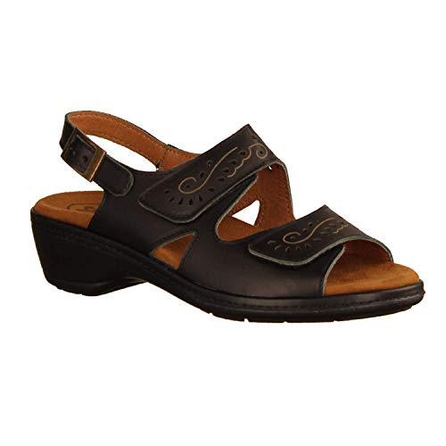 SLOWLIES Damen Sandaletten 416 Schwarz - Sandale mit Loser Einlage - Damenschuhe Sandale bequem/lose Einlage, Schwarz, Leder schwarz 220887