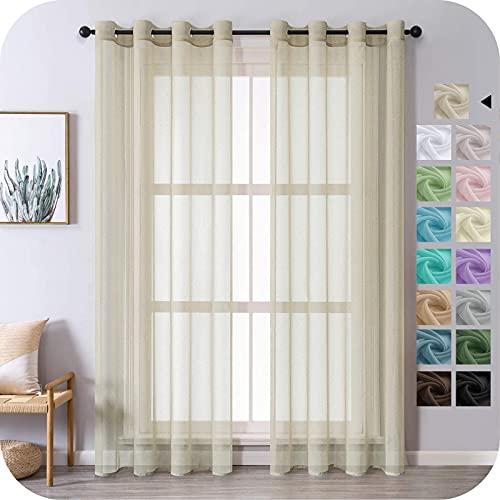 MRTREES Voile Gardinen Vorhang halbtransparent kurz mit Ösen in Leinenoptik Stores Gardinen Schals für Wohnzimmer Schlafzimmer Kinderzimmer Beige 225×140cm (H×B) 2er Set