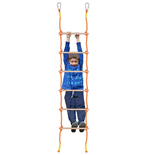X XBEN 8.5Ft Wooden Rope Ladder for Kids, Climbing Ladders for Backyard Playset, Ninja Obstacle Course Hanging Ladder, Outdoor Playground Swingset Accessories