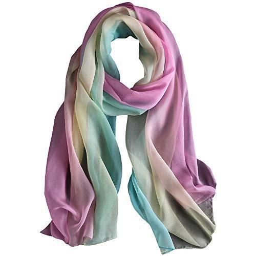 WZTP pañuelo de seda Mujer 100% seda Mantón Bufanda Moda Chals Señoras Elegante Estolas Fular 70,8'x 27,5'' (Azul rosado fresco)