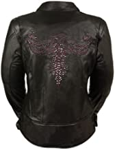 Black, Large Milwaukee Leather Womens Embossed Phoenix Jacket