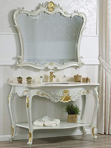 SIMONE GUARRACINO LUXURY DESIGN Consolle e Specchio Eleonor Stile Barocco Veneziano arredo Bagno Crackle e Foglia Oro Marmo Crema