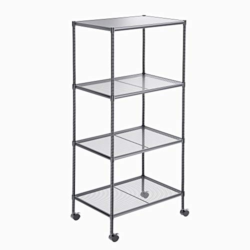 OVICAR 4-Tier Wire Storage Shelves, Adjustable Shelving Units with Wheels, Steel Metal Storage Rack for Kitchen Pantry Closet Laundry, Durable Organizer Garage Tool Storage Shelf(Grey)