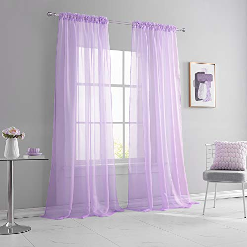 KEQIAOSUOCAI Light Purple Sheer Curtains 108 Inches Long Bedroom Party Backdrop Lilac Lavender Sheer Voile Rod Pocket Drapes Panels for Living Room Kids Baby Room 2 Pieces 52x108