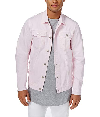 Mens Button Front Pink Trucker Jacket