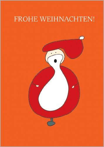 Helga Bühler 5er Set: Weihnachtskarte mit grafischem Weihnachtsmann, der Frohe Weihnachten wünscht • Klappkarten Set mit Umschlägen als liebevoller Weihnachts Gruss für Familie und Freunde