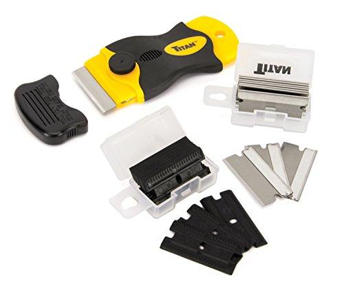 Titan Tools 17013 4-Inch Mini Razor Scraper with (10) Non-Marring Plastic Blades and (11) #20 Steel Blades