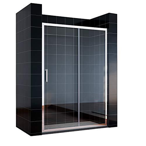 SONNI Schiebetür Dusche 140 cm Duschtüren Duschabtrennung Glasschiebetür Höhe 185 cm Klarglas Duschwand Duschkabine