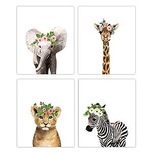 Designs by Maria Inc. Floral Crown Safari Baby Animals Nursery Decor Art – Set of 4 UNFRAMED Wall Prints 8×10 (Option 4)