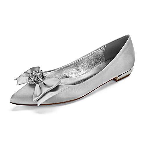 Zapatos De Boda De Novia para Mujer Marfil Dedo del Pie Puntiagudo...
