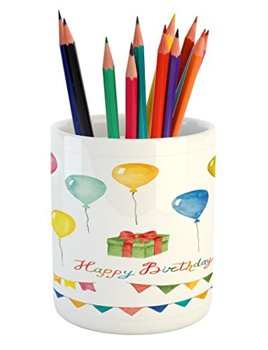 Ambesonne Birthday Pencil Pen Holder, Watercolor Set for Celebration Flags Surprise Box Balloons and Happy Best Wishes, Printed Ceramic Pencil Pen Holder for Desk Office Accessory, Multicolor