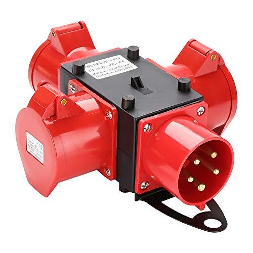 wolketon Stromverteiler Baustromverteiler Verteiler 3 x CEE 400V/32A IP44 CEE-Steckdose 5 Polig Mit Sicherheitsklappdeckeln Für Baustelle