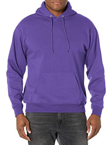 Hanes Men's Fleece Full Cut Hood Pullover Hoodie, Purple, Large