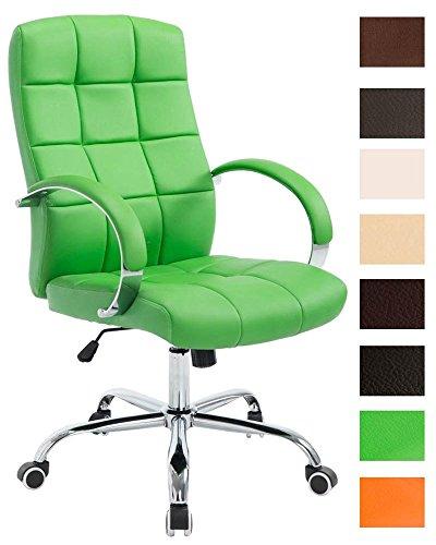 CLP Chefsessel MIKOS mit hochwertiger Polsterung und Kunstlederbezug I Höhenverstellbarer Schreibtischstuhl mit Laufrollen I erhältlich Grün
