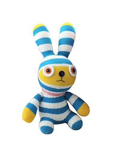 DIY-Socken-Kaninchen-Puppe Nette Nähen Puppe Herstellungsmaterial Blau Weiß Stre