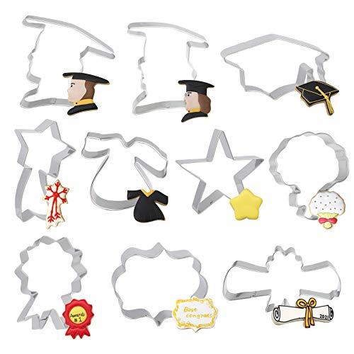LAMEK 10 Pcs Moldes Galletas de Graduación Reposteria Cortadores de Galletas Acero Inoxidable Cookie Cutters para Graduation, Gorro de Graduación, Diploma, Vestido, Ramo, Estrella Fugaz