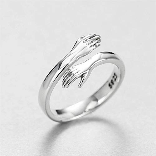lefeindgdi Sterling Silver Ring, Adjustable Couple Ring, Wedding Valentine Gift for Men Women Girls Present