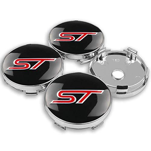 HANXIAOLONGA Rad-Mittelkappen-Set , 4 Stück 56 / 60MM ST-Logo Auto-Radkappen-Emblem für Ford ST Fusion Everest...