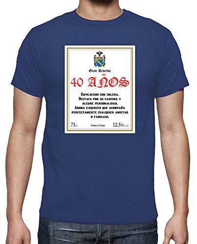latostadora - Camiseta Gran Reserva 40 Anos para Hombre Azul Royal XXL