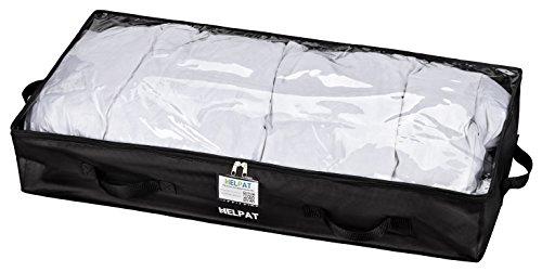 HELPAT Unterbettkommode aus Stoff - 100 x 48 x 18 cm – Praktische Aufbewahrung für Kleidung & Bettdecken – Unterbett Aufbewahrungstasche (transparent & flexibel) für sichere Kleideraufbewahrung