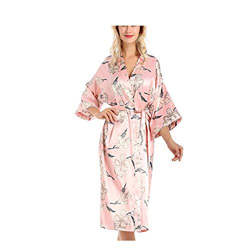 Albornoz para mujer, con cuello en V, sexy, estampado kimono, pijama, para mujer, lencería de seda, bata de baño, bata de casa, color rosa
