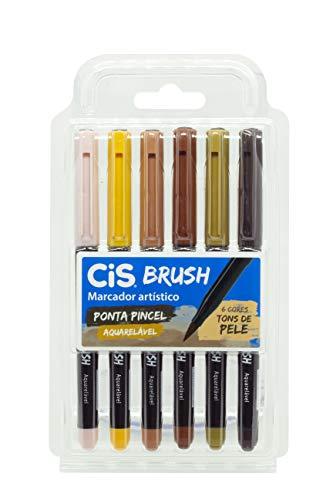 Marcador Artístico CIS Brush Estojo com 6 Cores Tons de Pele