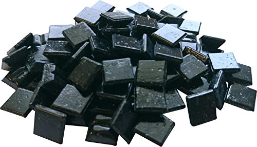 Fliesenhandel Fundus 1 Kg Glasmosaik 1x1cm Premium Qualität - ca.1500 Stück Glasmosaiksteine 10x10 Mosaiksteine (Schwarz)