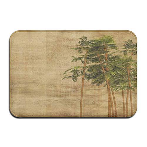 N\A Alfombra de Felpudo de Alfombra de baño de Hojas de bambú Retro, Alfombra Antideslizante para baño de Entrada de Cocina Interior al Aire Libre