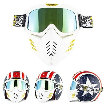 Maschera Casco Jet o Motocross Universale - Maschere Per Moto Occhiali Da Protezione - Antivento Antismog Antiappanamento (Lente dorata (2))