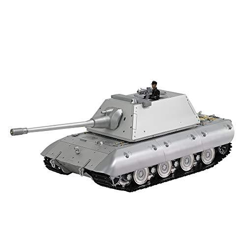 HOOBEN 1/16 E100 Superschwerer Panzer RC RTR Halbmetall mit Metallgehäuse,Turm,Getriebe,Lauf,Straßenrad,Spurspannungsregler,IR/Rauch/LICHT/TON