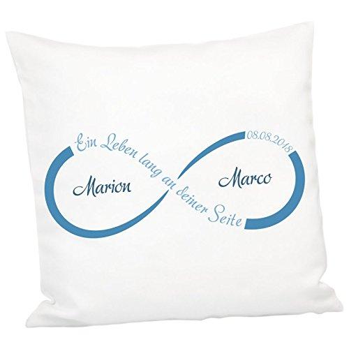Geschenke 24: Kissen - Unendlichkeit mit Personalisierung (Blau) - personalisiertes Kuschelkissen - Romantisches Zierkissen mit Namen und Datum