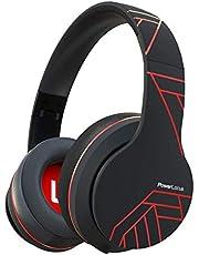 PowerLocus P6 trådlösa over-ear-hörlurar, trådlösa hörlurar, mäktig bas med hifi-ljud i stereo, 20 timmars batteri, mjuka öronkuddar, hörlurar med mikrofon, röstassistent för iPhone, Android, pc, Mac, tv