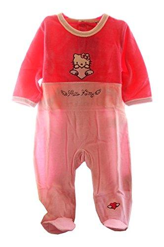 Strampler Baby Overall Hello Kitty Gr. 80 Pink Samt Schlafanzug Pyjama Anzug