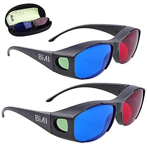 BIAL 2 PACK Red-Blue 3D Glasses with Glasses Case Cyan Anaglyph Simple Style 3D Glasses 3D Movie...