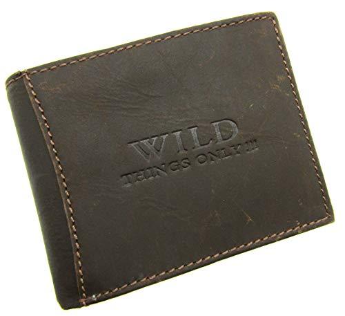 Unisex Real Embossed Leather Wallet Brown Tan (Brown)