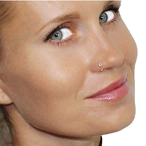 BodyJ4You Nose Hoop Ring Nostril Pin 20G Rainbow Steel Clear CZ Women Girl Body Piercing Jewelry