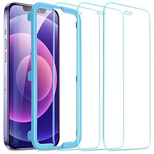 ESR Displayschutzfolie Kompatibel mit iPhone 12 und Kompatibel mit iPhone 12 Pro Panzerglas 3 Stück Praktischer Montagerahmen Hüllenfreundlich