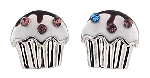 The Olivia Collection - Orecchini a perno a forma di cupcake, multicolore