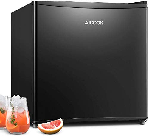 AICOOK Mini Fridge, 45L Table Top Freezer Mini Fridge for Bedrooms Quiet with 6 Adjustable Thermostat, Energy Star, Super Quiet for Bedroom, Dorm, Office, RV, Garage, Apartment …