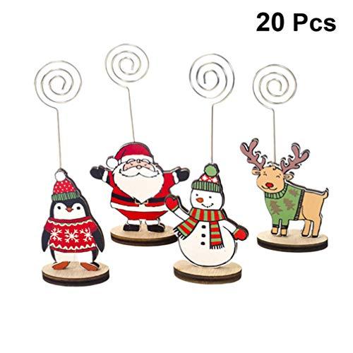 LIOOBO 20 Piezas Navidad Soporte De Tarjeta Nota Fotos