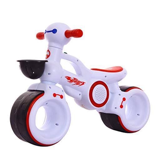 shuhong Niño Pequeño Bici Sin Pedales Rueda De Silencio EVA Extra Ancha Capacidad De 55 Libras Edades 1 A 3 Años,White