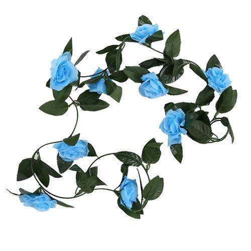 FS 8ft Artificial Blue Rose Flower Garland - Wedding Trellis Garden