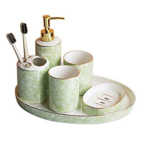 Soporte para jabón de manos y líquido para platos Inicio creativa de 6 piezas de baño Set de accesorios incluyendo el jabón dispensador de jabón Jabón Cepillo de dientes sostenedor del plato de cerámi