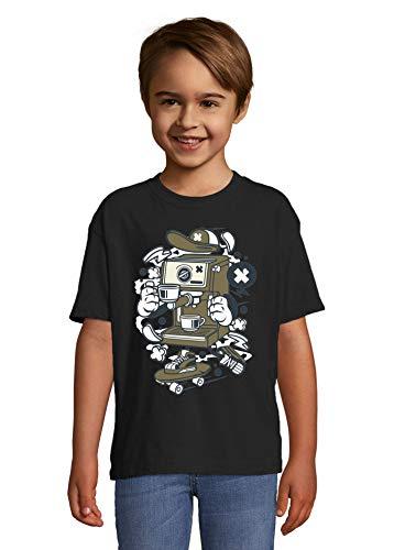 Kreskówka stylizowany ekspres do kawy łyżwiarz miejski napój dziecięcy okrągły dekolt T-shirt, Czarny, L