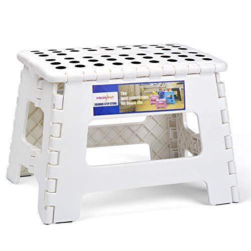 HOUSE DAY Tritthocker Klappbar Klapphocker Faltbar H22cm Tüv geprüft für Kinder Bade Küchen - Weiß