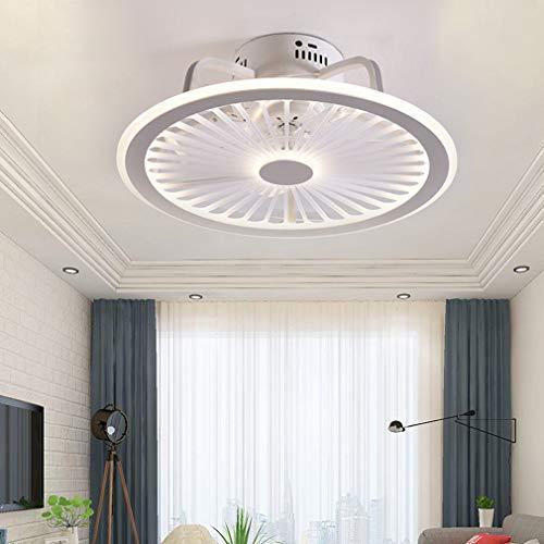 Muto Ventilatore a soffitto con luci e telecomando 18 cm ultra sottile Lampada da soffitto Silenzioso invisibile LED dimmerabile Illuminazione per ventilatori a soffitto per Camera da letto,Bianca