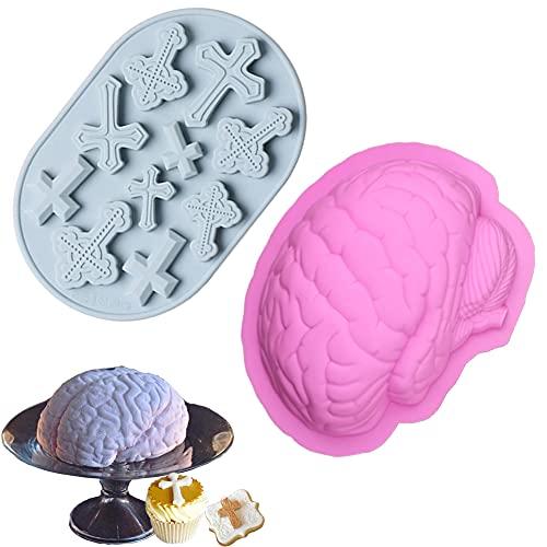 2 Piezas Molde Silicona Halloween, Moldes Silicona Magdalenas , Cerebro y Cruz, Moldes Silicona Cocina Para Chocolate , Fudge, Pastel